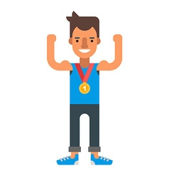 Happy male winner wearing a gold medal Coloured vector