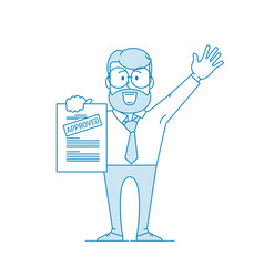 happy man shows a document with inscription vector image