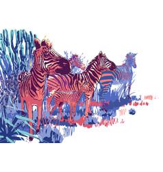 herd zebras sowing in steppe landscape vector image
