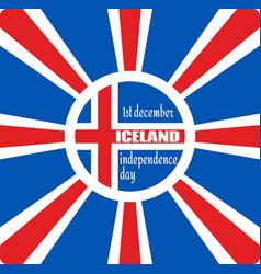 Iceland flag on sun rays backdrop vector