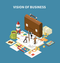 isometric business strategy composition vector image
