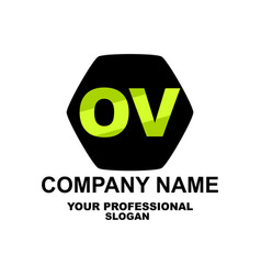 letter logo two letters o and v vector image