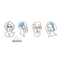 line portraits set contemporary drawing in modern vector image