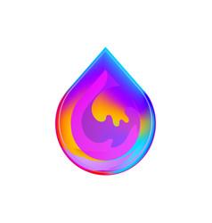 liquid colorful water drop logo design gradient vector image