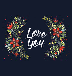 love you flowers vector image