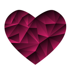 lowpoly polygonal heart isolated on white vector image