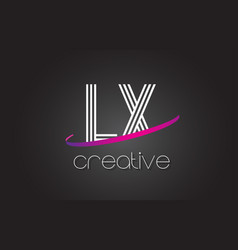 lx l x letter logo with lines design and purple vector image