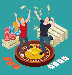man and woman won at casino isometric vector image