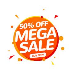 mega sale speech bubble banner sign 50 percent vector image
