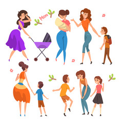 mothers having a good time with their kids set vector image