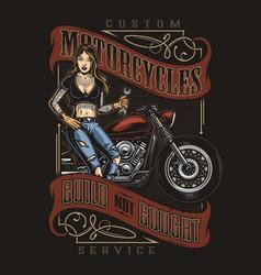 Motorcycle repair service vintage colorful print vector