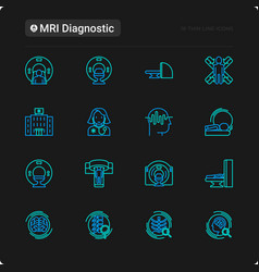 mri diagnostics thin line icons set vector image