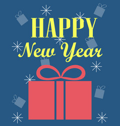 new years card with a gift blue background vector image