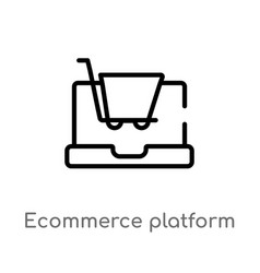 Outline ecommerce platform icon isolated black vector