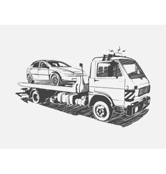 Painted tow truck on a white background vector image