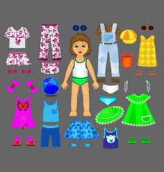 Paper doll clothes set part 1 vector