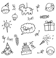 Party doodle art vector image