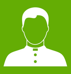 Pastor icon green vector