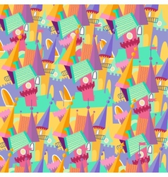 Pattern cartoon castle flat vector image