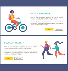 people in park woman rides bike and couple jogging vector image