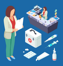 Pharmacy isometric set pharmacist at work vector