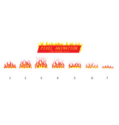 Pixel art 8 bit fire objects game icons set vector