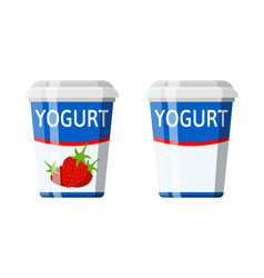 Plastic container with yogurt vector