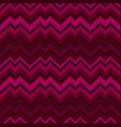 purple seamless knit pattern zigzag embroidery vector image