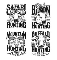 Ram buffalo and bison bull hunting apparel print vector