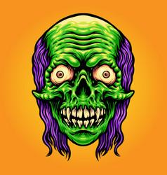 Scary skull zombie mascot vector