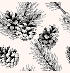 Seamless pattern with pine cones and branches vector