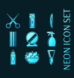 set barbershop glowing style neon icons vector image