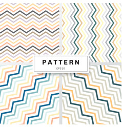 set chevron patterns pastels color on white vector image