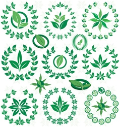 Set ecofriendly laurel wreath vector image