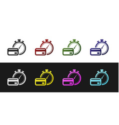 Set fast payments icon isolated on black and white vector
