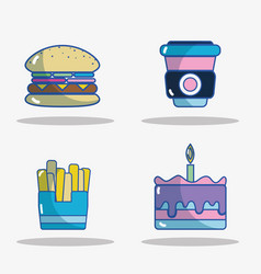 Set hamburger with fres fresh and pastel with vector