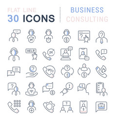 Set line icons business consulting vector