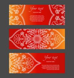 set of horizontal narrow banners with ethnic vector image