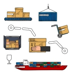 Shipping and courier delivery colorful sketch icon vector image