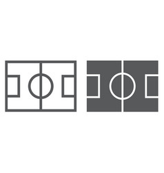 Soccer field line and glyph icon game and sport vector