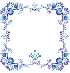 Square blue floral frame styling elements based vector