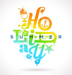 Summer holidays multicolored type design vector image