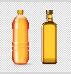 sunflower seed oil bottles realistic set vector image