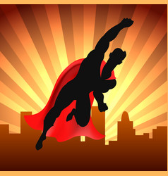 superhero over city vector image