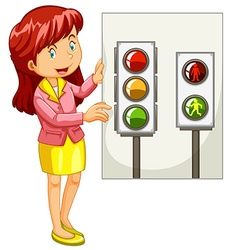 Teacher explaining traffic signals vector image
