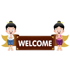 Thai kids with welcome sign vector