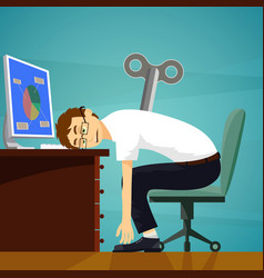 Tired worker sits at the workplace vector
