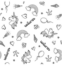 Unicorn rainbow and hearts seamless pattern hand vector