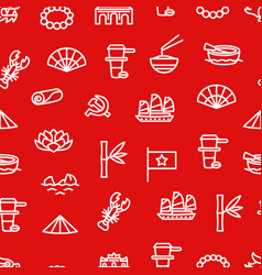 vietnam signs thin line seamless pattern vector image