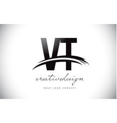 vt v t letter logo design with swoosh and black vector image